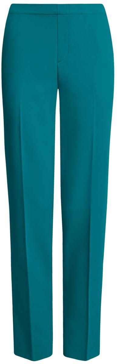 11706203/38253/5900NЖенские брюки oodji Ultra стандартной посадки изготовлены из полиэстера с добавлением вискозы и полиуретана. На поясе брюки дополнены широкой эластичной резинкой, спереди оформлены имитацией ширинки. По бокам расположены втачные карманы, сзади имитация двух прорезных кармашков.