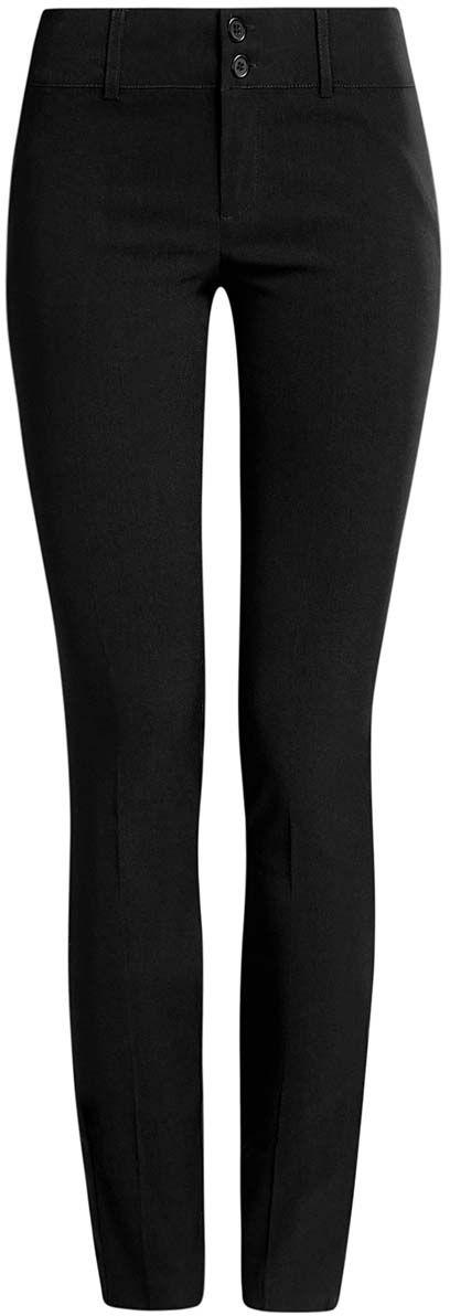 Брюки11700212B/14007/2900NСтильные женские брюки oodji Ultra выполнены из вискозы с добавлением полиамида и полиуретана. Модель с заниженной посадкой сзади оформлена имитацией карманов. Спереди брюки застегиваются при помощи застежки- молнии и пуговиц. Также модель оснащена шлевками для ремня.