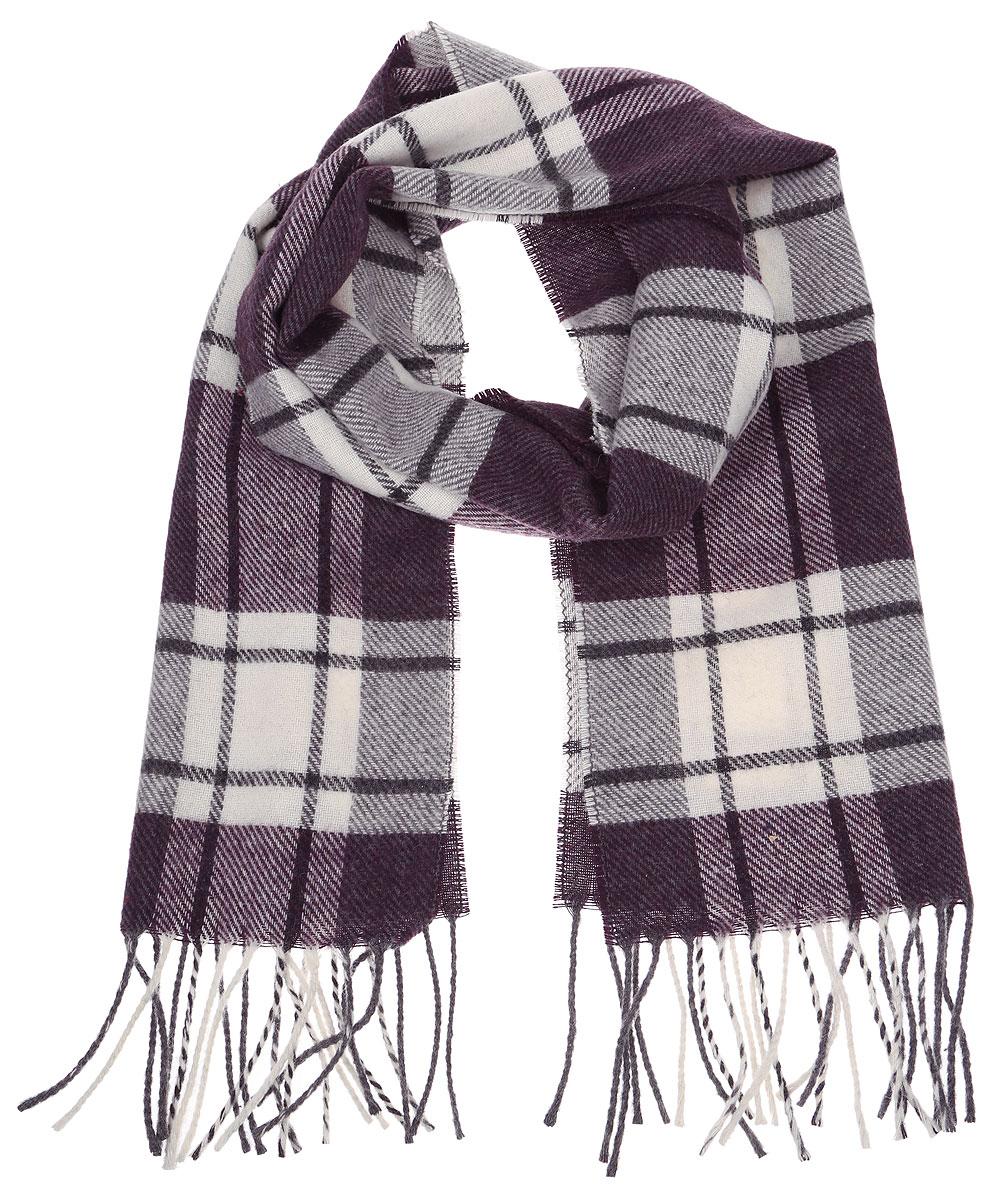 Шарф5000156-2Стильный теплый мужской шарф Venera изготовлен из очень мягкого и тактильно приятного материала. Модель оформлена принтом в клетку, по краям декорирована кисточками.