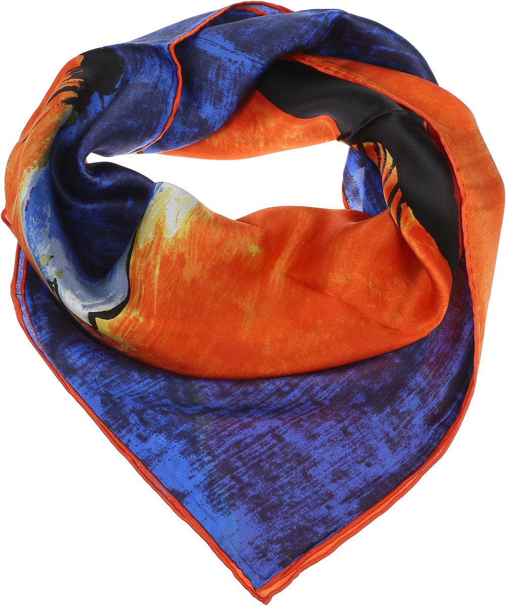 Платок1810912-28Женский платок Venera выполнен из шелка. Изделие оформлено принтом на морскую тематику. Классическая квадратная форма позволяет носить платок на шее, украшать им прическу или декорировать сумочку. Платок-картина в сочных тонах отлично дополнит образ и станет прекрасным вариантом в качестве подарка.
