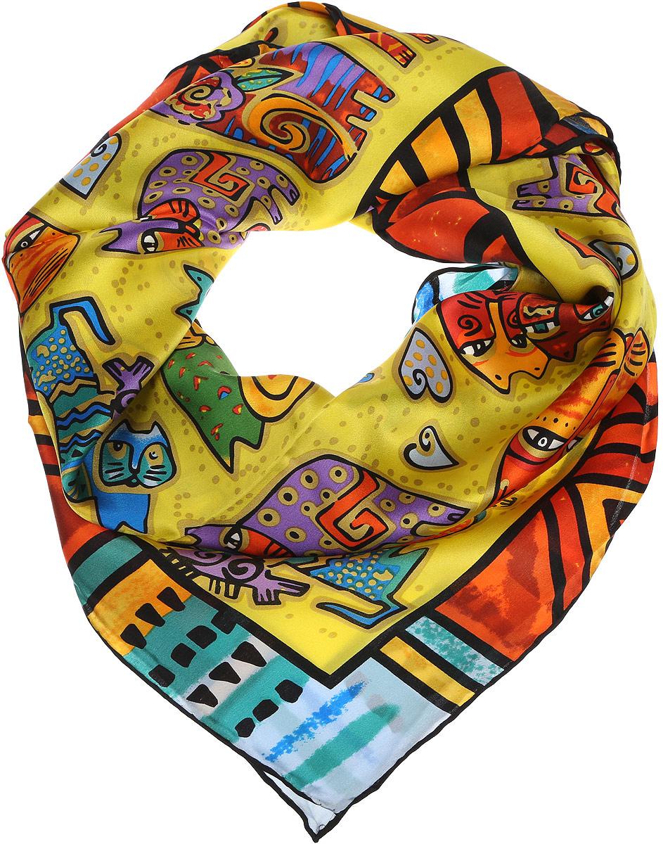 Платок1810712-4Стильный женский платок Venera полностью выполнен из шелка и оформлен оригинальным ярким принтом.