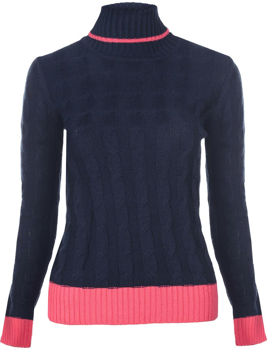 Свитер64407133/35397/7943BЖенский свитер oodji выполнен из акрила с добавлением полиамида. Модель с воротником-гольф и длинными рукавами. Воротник, манжеты рукавов и низ изделия связаны резинкой. Свитер оформлен оригинальным узором.