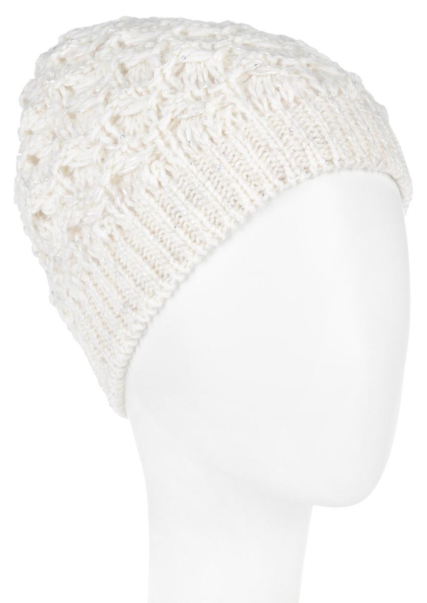 ШапкаSWH5974/2-003Вязаная женская шапка Snezhna идеально подойдет для вас в холодное время года. Изготовленная из шерсти и акрила, она мягкая и приятная на ощупь, обладает хорошими дышащими свойствами и максимально удерживает тепло. Подкладка шапки выполнена из мягкого теплого флиса. Модель плотно облегает голову, благодаря чему надежно защищает от ветра и мороза. Изделие оформлено крупным вязаным узором, а также декорировано мелкими переливающимися пайетками. Уважаемые клиенты! Размер, доступный для заказа, является обхватом головы.