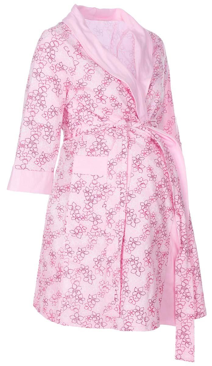 Халат1-НМК 05201Халат для беременных и кормящих выполнен из хлопкового трикотажного полотна. Воротник - шалька, накладные карманы, рукав 3/4.
