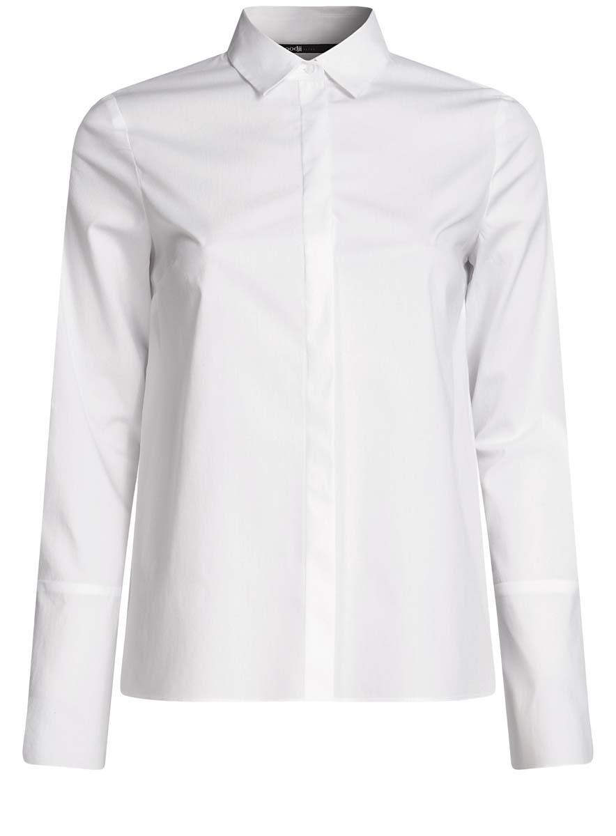 Блузка11401259/45816/1000NБлузка oodji Ultra выполнена из хлопка, полиамида и эластана. Модель с отложным воротником и длинными рукавами застегивается на пуговицы. Блузка дополнена выточками.