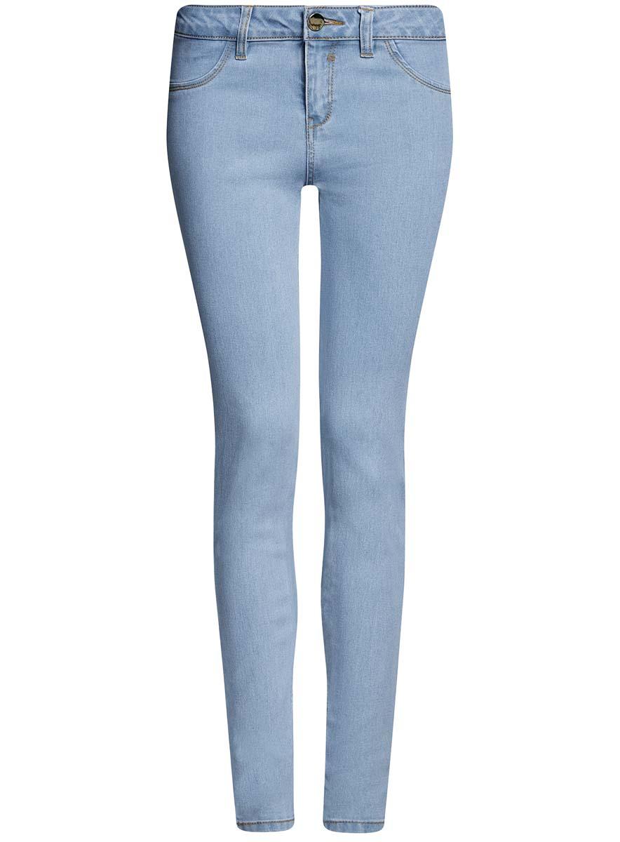 Джинсы12104060-1B/46250/7000WМодные стрейчевые женские джинсы oodji Denim выполнены из хлопка с добавлением полиэстера и эластана. Джинсы модели slim со стандартной посадкой застегиваются на пуговицу в поясе и ширинку на застежке-молнии. На поясе предусмотрены шлевки для ремня. Спереди джинсы оформлены имитацией карманов, а сзади расположены два накладных кармана.
