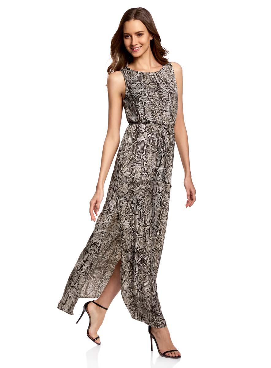 21900323/42873/2520AСтильное платье oodji Collection полностью выполнено из полиэстера. Модель с круглым вырезом горловины, застегивающимся сзади на пуговицу и без рукавов. На поясе имеются затягивающиеся шнурки. По бокам изделия расположены карманы.