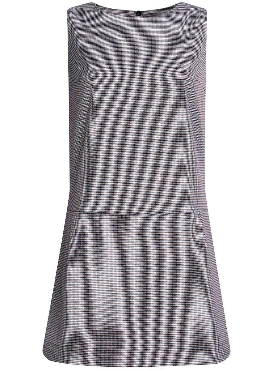 Платье11910072-4/46284/1229CМодное базовое платье oodji Ultra выполнено из качественного комбинированного материала. Модель-миди без рукавов и с круглым вырезом горловины застегивается сзади по спинке на молнию. В боковых швах платье дополнено двумя втачными карманами. Оформлено изделие принтом в мелкую клетку.