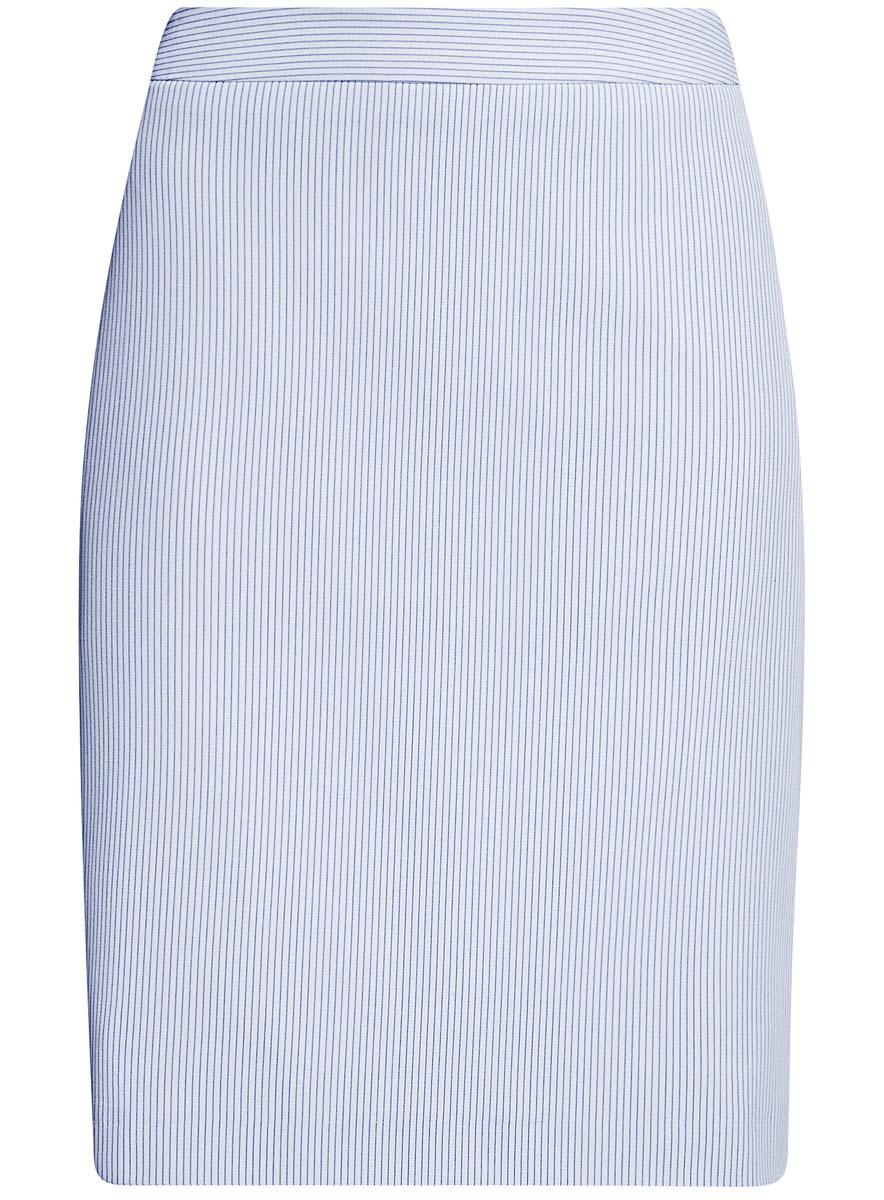 Юбка21611105-4B/31270/1279SКлассическая юбка oodji Collection выполнена из качественного комбинированного материала на подкладке из полиэстера. Модель-миди прямого кроя застегивается сзади на потайную молнию. Оформлена юбка принтом в мелкую полоску. Сзади изделие дополнено стильной шлицей.