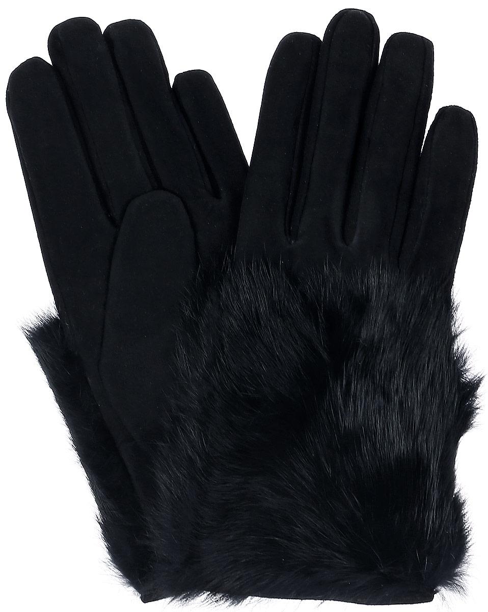 S11_EPURE/BRСтильные перчатки Dali Exclusive с шерстяной подкладкой выполнены из мягкой и приятной на ощупь натуральной замши. Лицевая сторона оформлена натуральным кроличьим мехом. Такие перчатки подчеркнут ваш стиль и неповторимость.