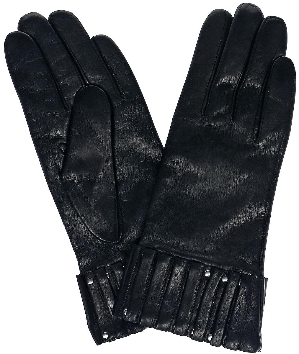 11_WELATTE/BL//11Женские перчатки Dali Exclusive не только защитят ваши руки, но и станут великолепным украшением. Перчатки выполнены из натуральной кожи, а подкладка - из высококачественной шерсти. Модель оформлена декоративными складками.