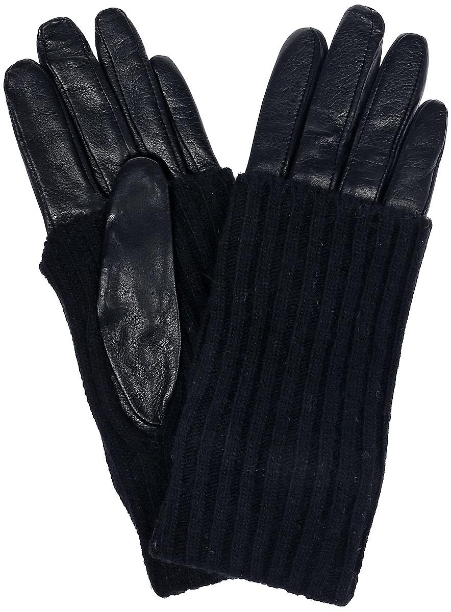 ПерчаткиIS01330Стильные женские перчатки Eleganzza выполнены из натуральной гладкой кожи и дополнены вязаной нашивкой, стилизованной под рукав. Внутренняя поверхность выполнена из натуральной шерсти и кашемира.
