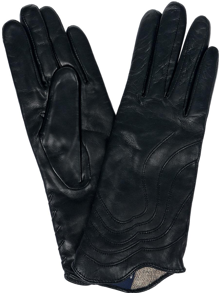 Перчатки11_PENTA/BLЖенские перчатки Dali Exclusive не только защитят ваши руки, но и станут великолепным украшением. Перчатки выполнены из натуральной кожи, а подкладка - из высококачественной шерсти. Модель оформлена декоративными прострочками.
