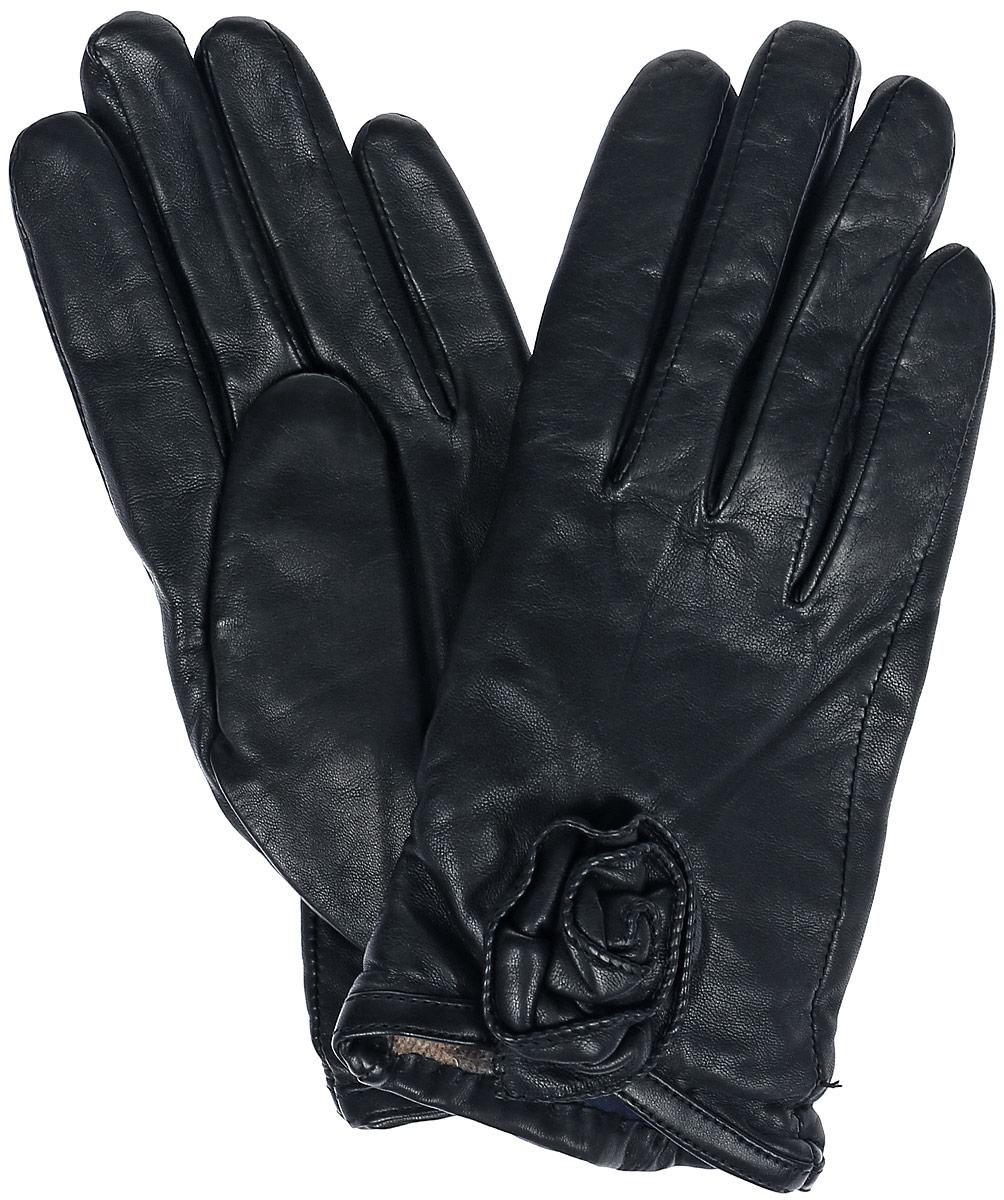 Перчатки11_ANESSA/BLСтильные женские перчатки Dali Exclusive не только защитят ваши руки, но и станут великолепным украшением. Перчатки выполнены из натуральной кожи, а их подкладка - из высококачественной шерсти. Модель оформлена декоративным цветком.