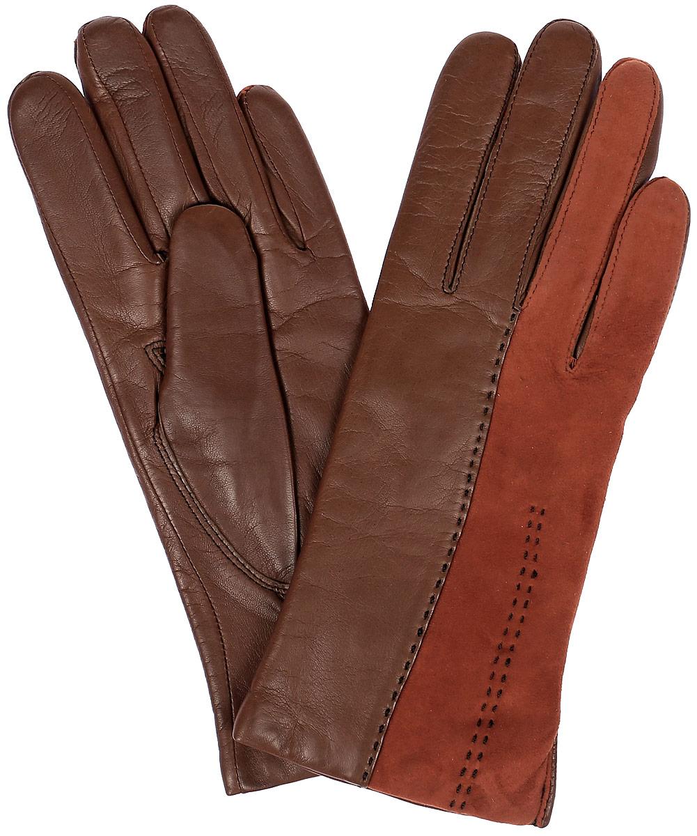 S13_TREVE/HAZEL//11Стильные женские перчатки Dali Exclusive не только защитят ваши руки, но и станут великолепным украшением. Перчатки выполнены из натуральной кожи, а их подкладка - из высококачественной шерсти. Модель оформлена вставкой из замши, на запястье - эластичная строчка-стежка.