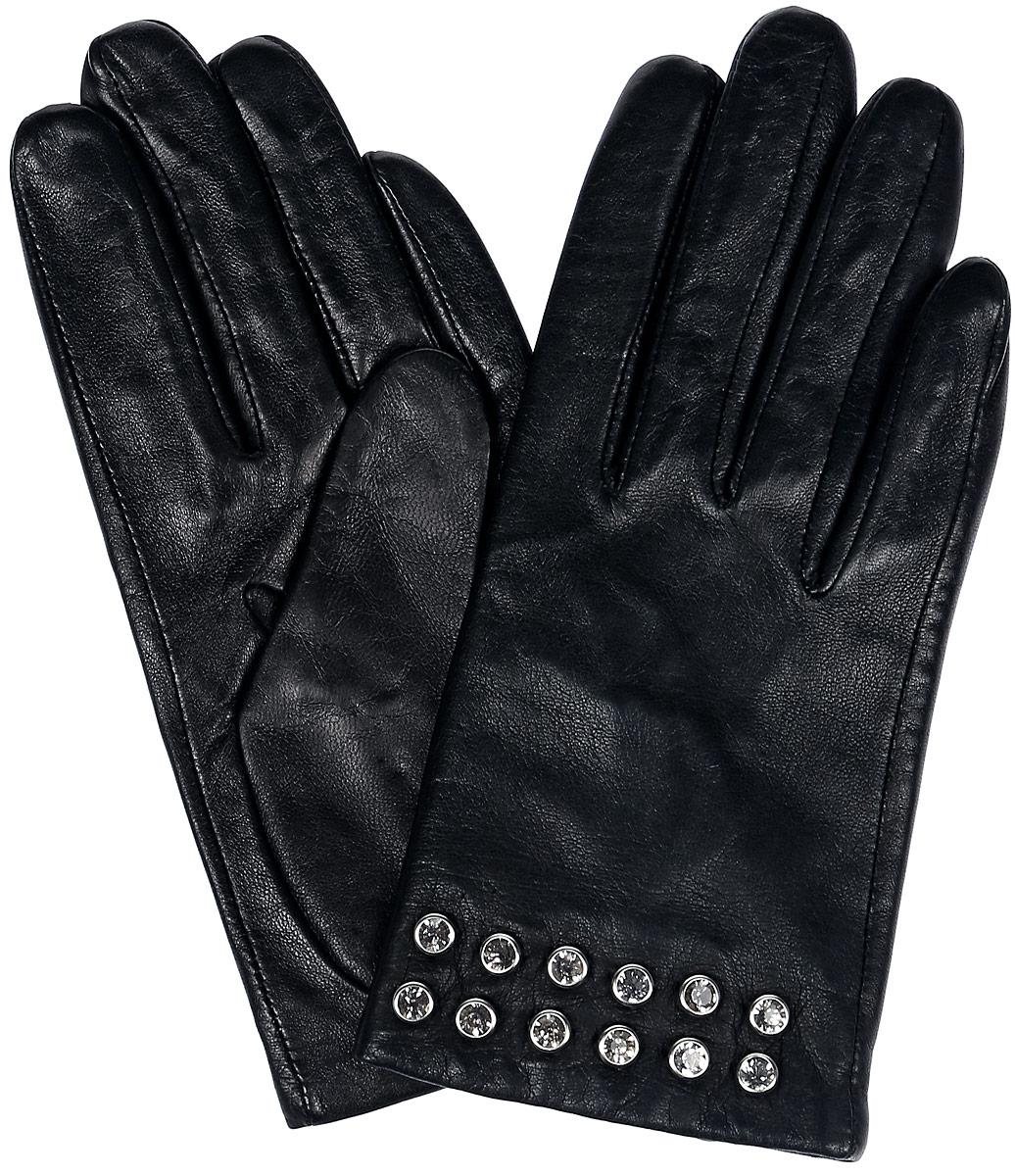 Перчатки81_DIE/BLЖенские перчатки Dali Exclusive не только защитят ваши руки, но и станут великолепным украшением. Перчатки выполнены из натуральной кожи, а подкладка - из высококачественного шелка. Модель оформлена клепками со стразами.