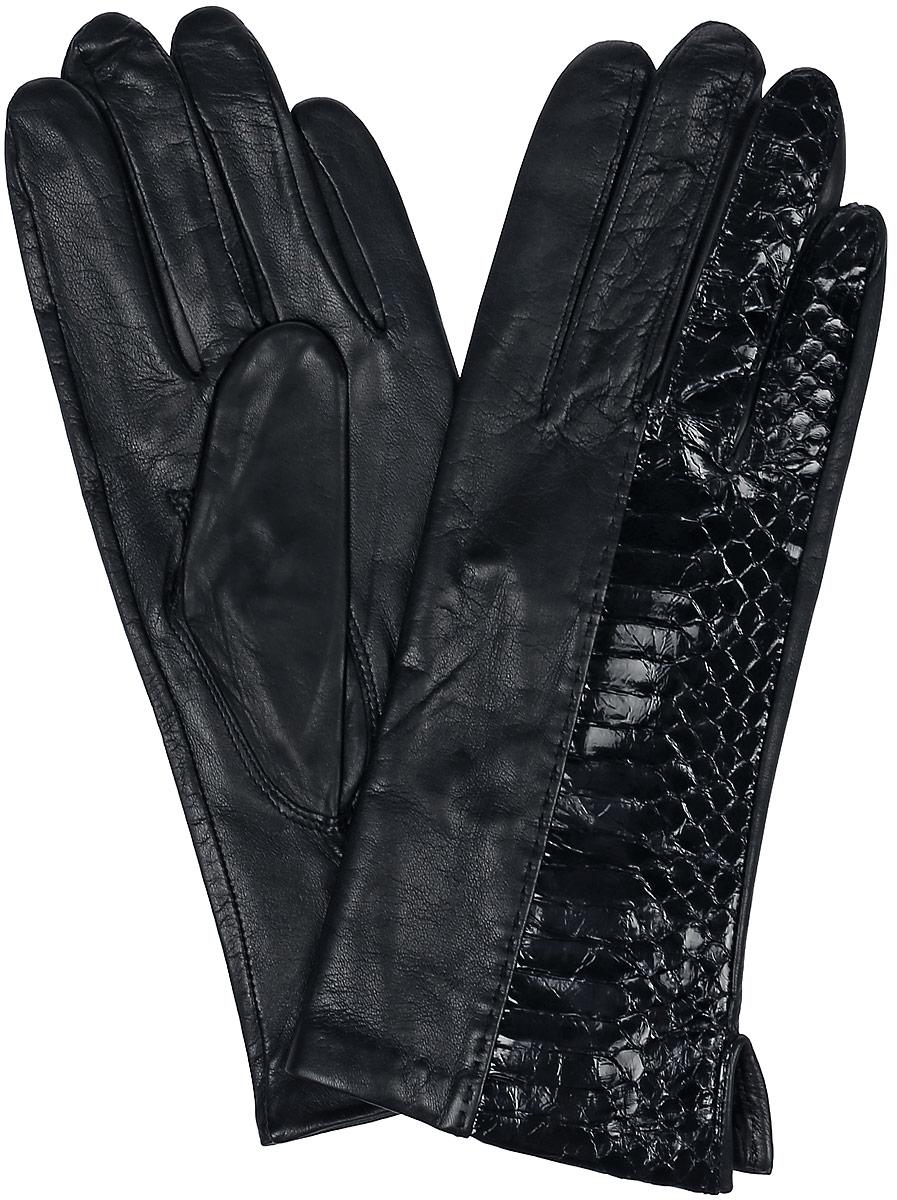 ПерчаткиR81_MATESE/G.BLЖенские перчатки Dali Exclusive не только защитят ваши руки, но и станут великолепным украшением. Перчатки выполнены из натуральной кожи, а подкладка - из высококачественного шелка. Модель оформлена вставкой из кожи под рептилию.