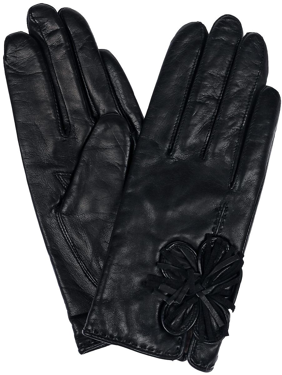 Перчатки13_FERA/BLЖенские перчатки Dali Exclusive не только защитят ваши руки, но и станут великолепным украшением. Перчатки выполнены из натуральной кожи, а подкладка - из высококачественной шерсти. Модель оформлена декоративным цветком.