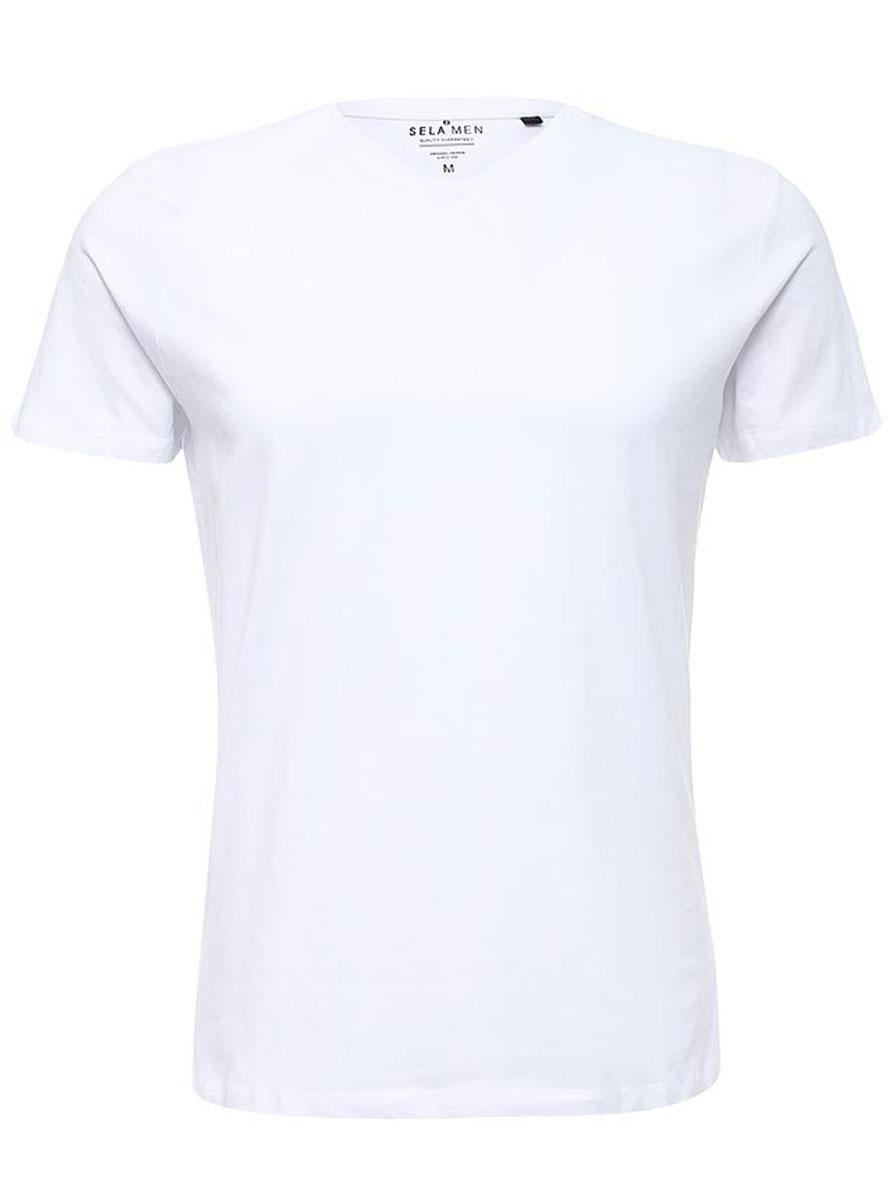 ФутболкаTs-211/1138-7141Однотонная мужская футболка Sela выполнена из высококачественного материала. Модель с V-образным вырезом горловины и короткими рукавами.