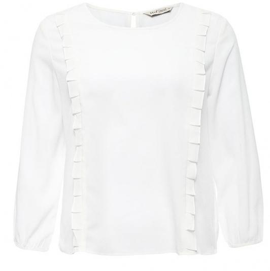 БлузкаTw-112/1151-7140Стильная женская блузка Sela, выполненная из 100% полиэстера, подчеркнет ваш уникальный стиль и поможет создать оригинальный женственный образ. Модель с круглым вырезом горловины и рукавами 3/4 застегивается сзади по спинке на пуговицу. Края рукавов также имеют застежки на пуговицах. Спереди блузка дополнена стильными рюшами.