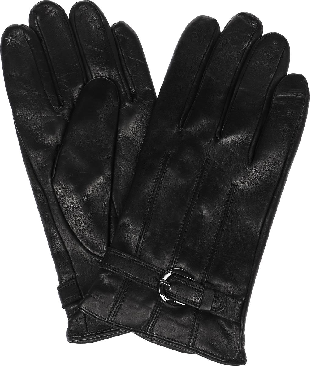 ПерчаткиTOUCH IS91131Стильные мужские перчатки Eleganzza выполнены из натуральной кожи. Внутренняя поверхность модели изготовлена из шерсти и кашемира, которые обеспечат тепло и комфорт. На пальцах перчатки оформлены металлизированной нитью, которая позволяет работать с сенсорным экраном. Перчатки дополнены о низу манжета декоративным ремешком с металлической бляшкой.