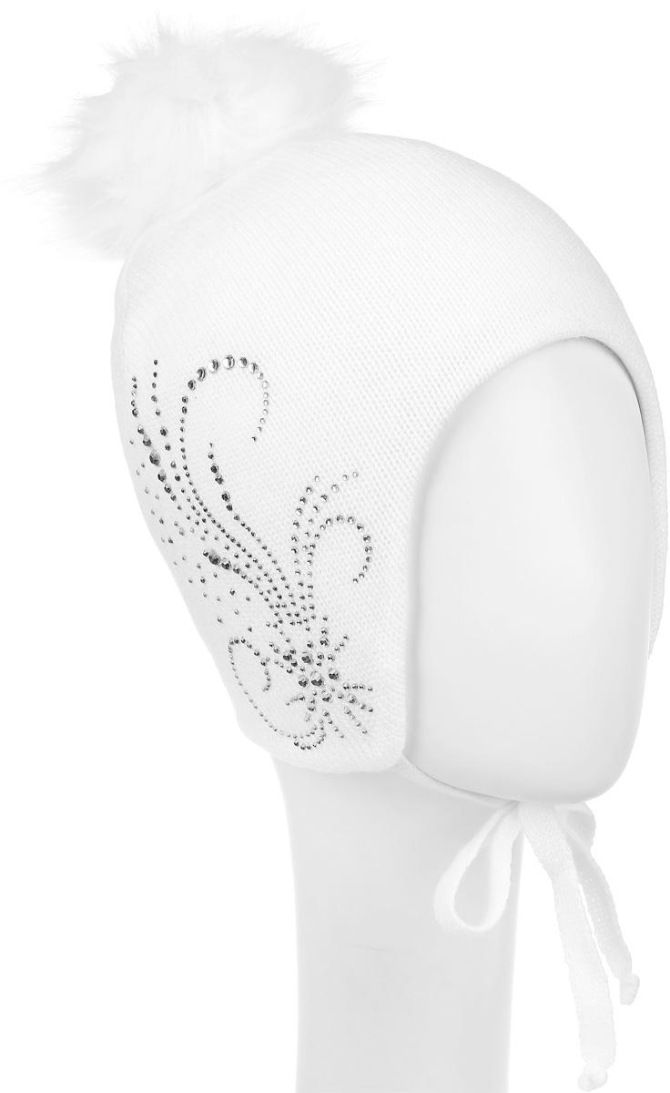 1Ш1605Шапка для девочки OLDOS Бьюти выполнена из шерсти с добавлением акрила. Шапка дополнена пушистым помпоном на макушке и завязками, которые фиксируются под подбородком. Модель декорирована стразами. Уважаемые клиенты! Размер, доступный для заказа, является обхватом головы.