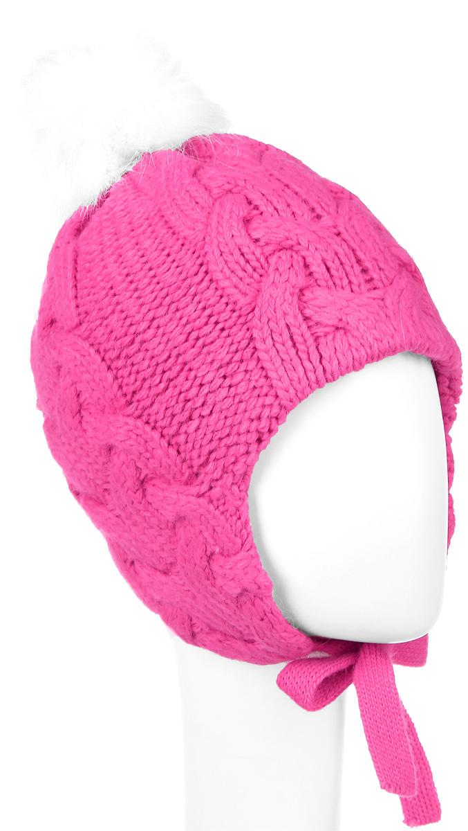Шапка детская1Ш1606Шапка для девочки OLDOS Косы выполнена из акрила с добавлением шерсти и альпака. Шапка дополнена пушистым помпоном на макушке и завязками, которые фиксируются под подбородком. Модель оформлена интересным вязаным узором. Уважаемые клиенты! Размер, доступный для заказа, является обхватом головы.