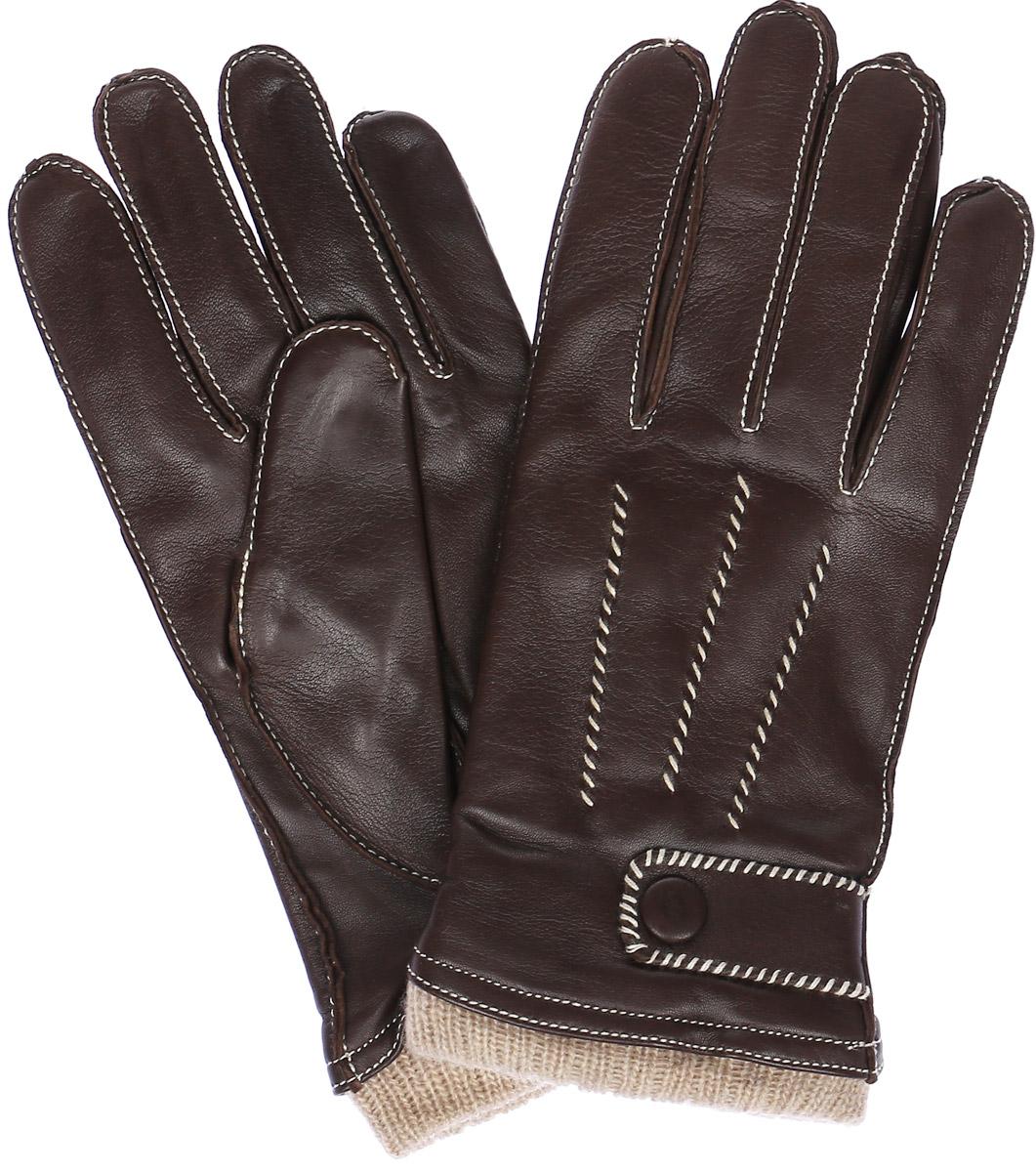 ПерчаткиOS01750Стильные мужские перчатки Eleganzza выполнены из натуральной кожи. Внутренняя поверхность модели изготовлена из шерсти и кашемира, которые обеспечивают тепло и комфорт. На ладонной стороне перчатки дополнены резинкой, а на внешней оформлены декоративными швами три луча. Манжет дополнен декоративным ремешком на кнопке.