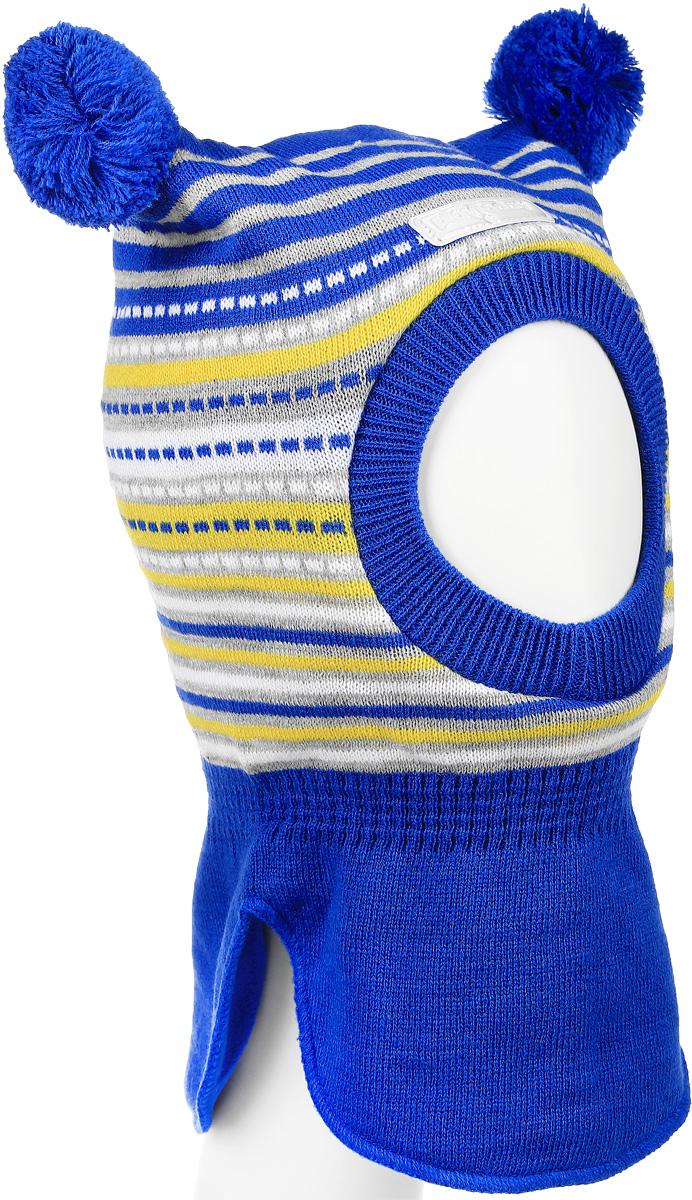 Шапка детская362183Теплая шапка-шлем для девочки PlayToday выполнена из 100% акрила, подкладка выполнена из мягкого флиса. Модель декорирована двумя небольшими помпонами и оформлена принтом в полоску. Шейная часть изделия связана резинкой. Уважаемые клиенты! Обращаем ваше внимание на тот факт, что размер, доступный для заказа, является обхватом головы.