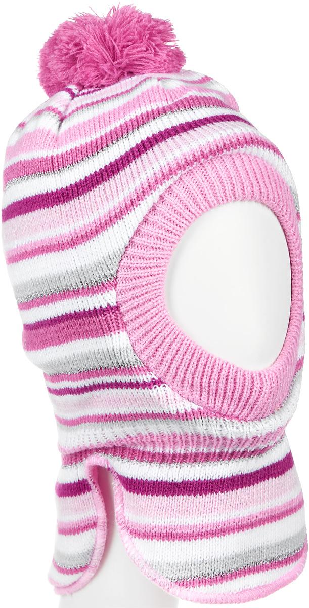 368078Утепленная шапка-шлем для девочки PlayToday Baby выполнена из высококачественной акриловой пряжи, подкладка выполнена из мягкого флиса. Наполнитель - синтепон. Модель декорирована небольшим помпоном и оформлена контрастными полосками. Уважаемые клиенты! Обращаем ваше внимание на тот факт, что размер, доступный для заказа, является обхватом головы.