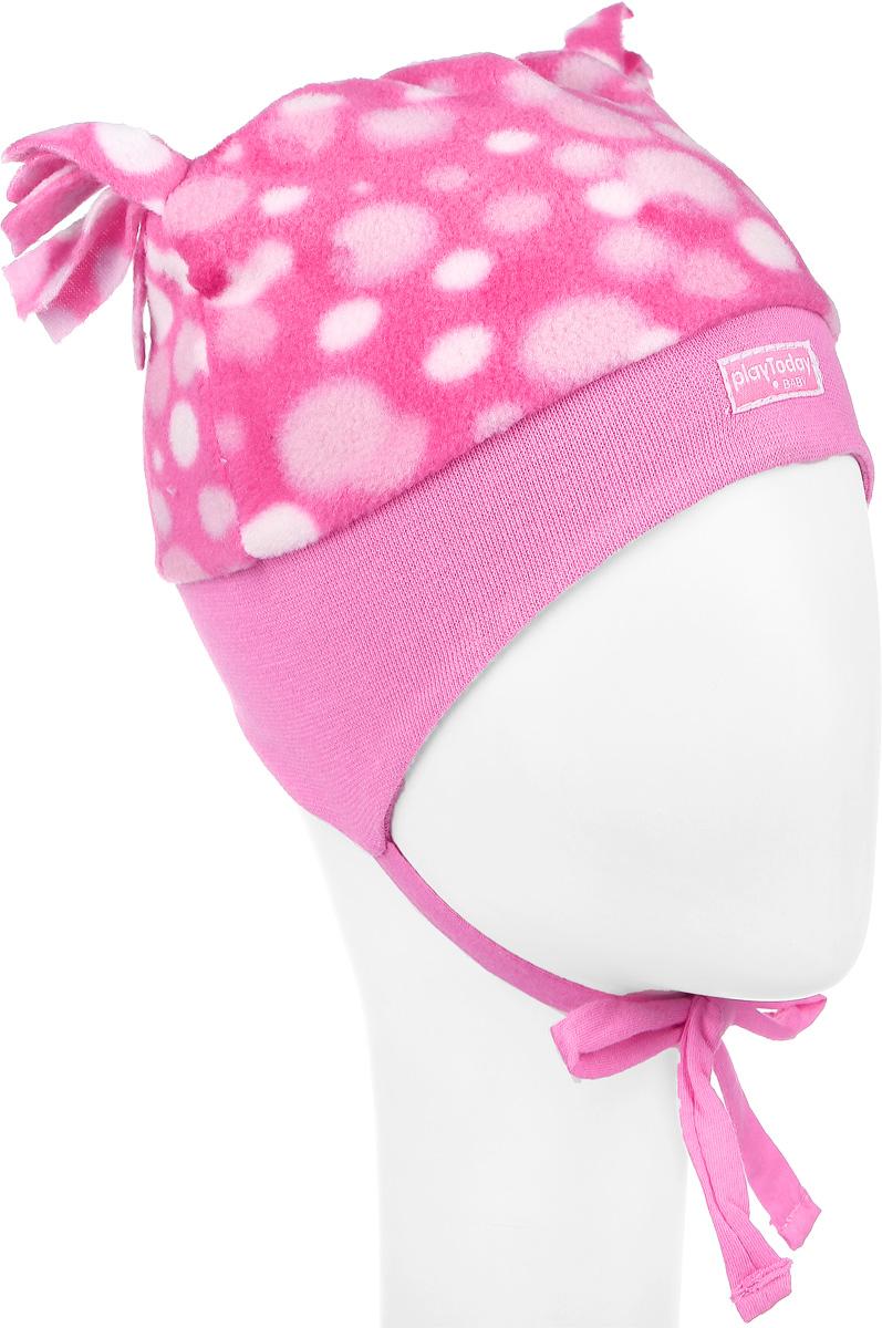 Шапка детская368808Шапка для девочки PlayToday Baby выполнена из мягкого флиса, подкладка выполнена из хлопка. Модель декорирована небольшими ушками-кисточками и оформлена принтом в горох, а также дополнена завязками. Уважаемые клиенты! Обращаем ваше внимание на тот факт, что размер, доступный для заказа, является обхватом головы.