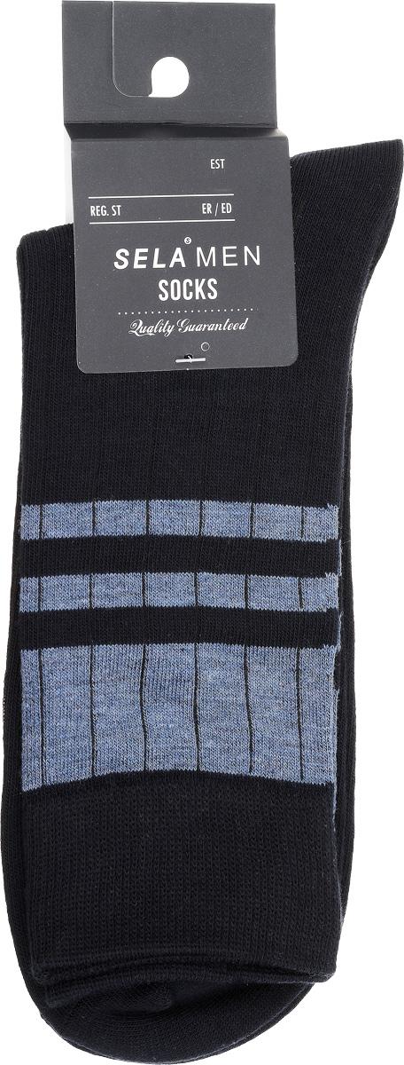 SOb-254/021-7101Удобные мужские носки Sela, изготовленные из высококачественного материала. Благодаря содержанию мягкого хлопка в составе, кожа сможет дышать, а эластан позволяет носкам легко тянуться, что делает их комфортными в носке. Эластичная резинка плотно облегает ногу, не сдавливая ее, обеспечивая комфорт и удобство. Стандартный паголенок оформлен контрастными полосами. Уважаемые клиенты! Размер, доступный для заказа, является длиной стопы.