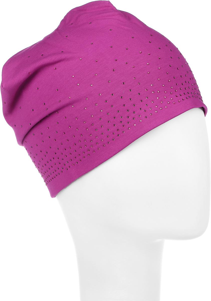 Шапка детская362082Уютная шапочка для девочки PlayToday выполнена из хлопка с добавлением эластана. Украшена модель россыпью сверкающих стразов. Уважаемые клиенты! Размер, доступный для заказа, является обхватом головы.