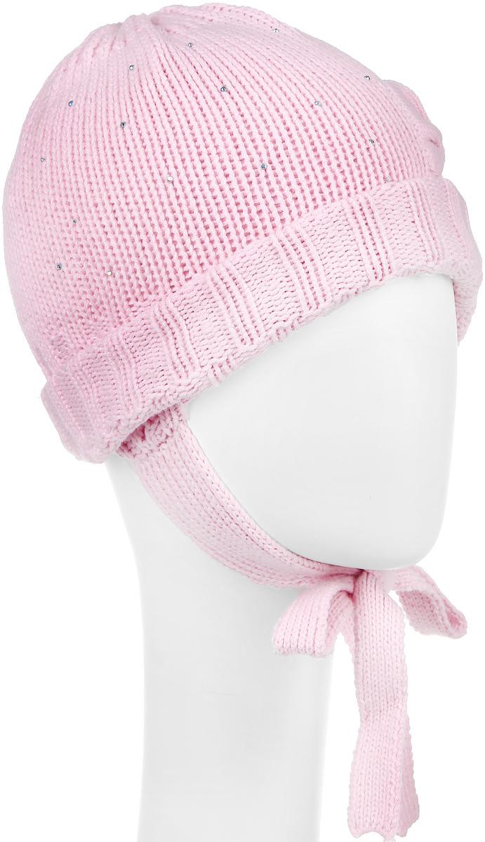 Шапка детская368810Вязаная двухслойная шапка для девочки PlayToday Baby выполнена из высококачественной пряжи из хлопка с добавлением акрила. Модель декорирована небольшим вязаным бантиком и блестящими стразами, а также дополнена завязками. Уважаемые клиенты! Обращаем ваше внимание на тот факт, что размер, доступный для заказа, является обхватом головы.