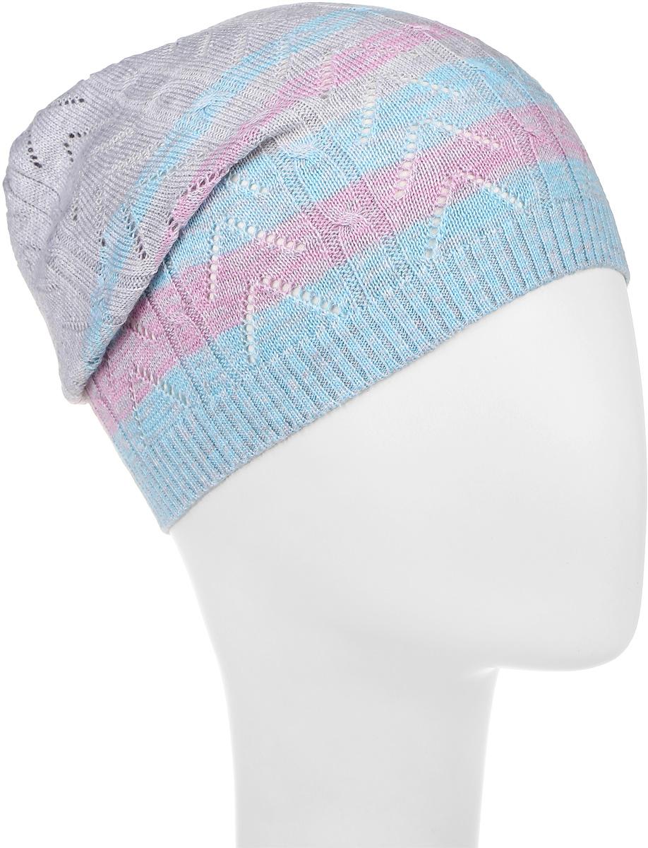 205803Шапка для девочки Luminoso выполнена из хлопка с добавлением акрила. Шапка оформлена принтом в полоску и дополнена металлической пластиной с названием бренда. Уважаемые клиенты! Размер, доступный для заказа, является обхватом головы.