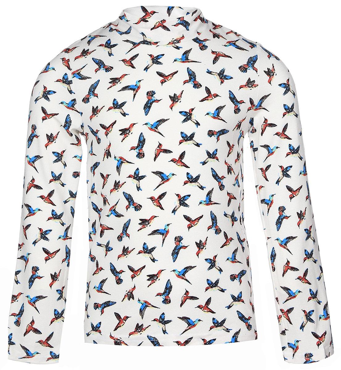 ВодолазкаWJO26041M-22Водолазка для девочки M&D выполнена из эластичной вискозы с добавлением лайкры. Модель с воротником-стойкой и длинными рукавами оформлена принтом с изображением птиц.