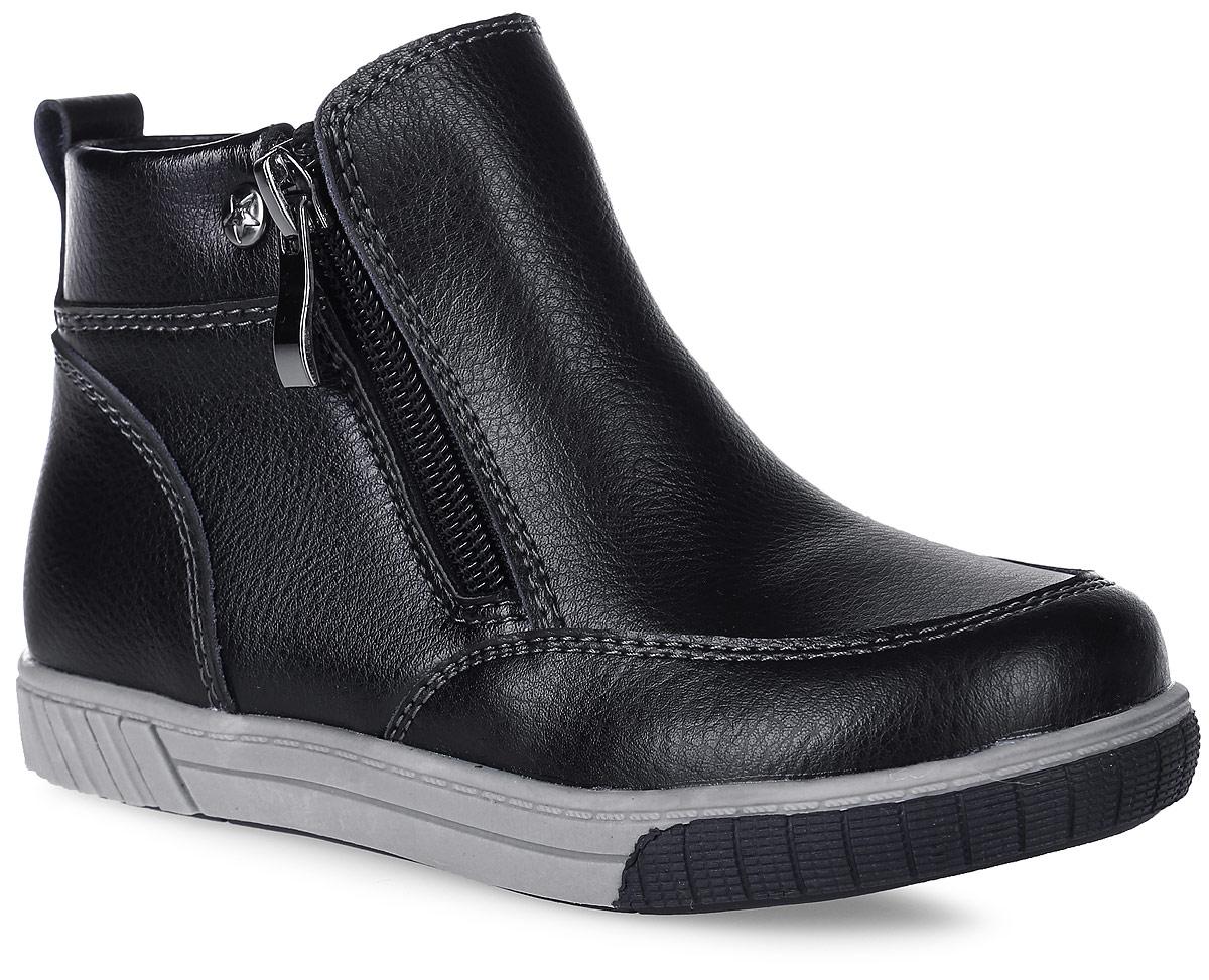 06-106-651Стильные ботинки для мальчика от MakFly выполнены из искусственной и натуральной кожи. Боковые застежки-молнии позволяют легко снимать и надевать модель. Подкладка и стелька из байки комфортны при движении. Подошва дополнена рифлением.