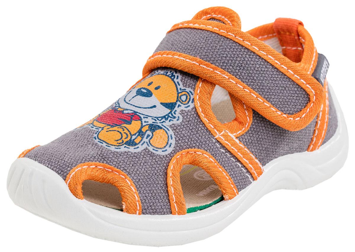 121010-14Обувь с текстильным верхом и хлопковой подкладкой. Литьевой метод крепления подошвы обеспечивает ей максимальную прочность, необходимую гибкость и минимальный вес. Подошва имеет анатомическую форму следа и в точности повторяет изгибы свода стопы, что позволяет ноге чувствовать себя комфортно весь день. Ремень с застежкой велькро позволяет легко обувать и снимать обувь и надежно фиксируют ножку малыша. Очень популярны для детских учреждений, занятий в группах и дома.