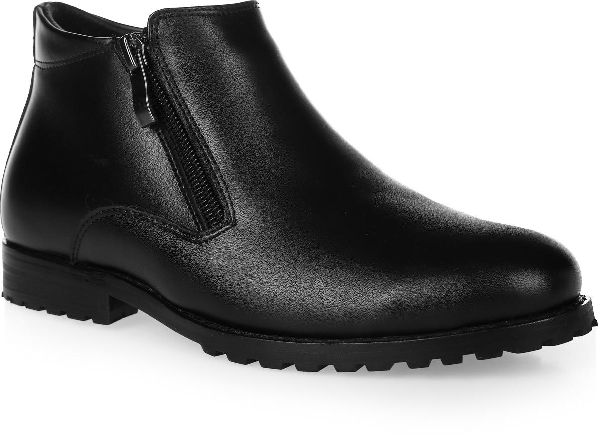 20500-3Стильные ботинки для мальчика от Vitacci выполнены из натуральной кожи. Застегивается модель на боковые застежки-молнии. Подкладка и стелька из натурального меха не дадут ногам замерзнуть. Подошва и каблук дополнены рифлением.