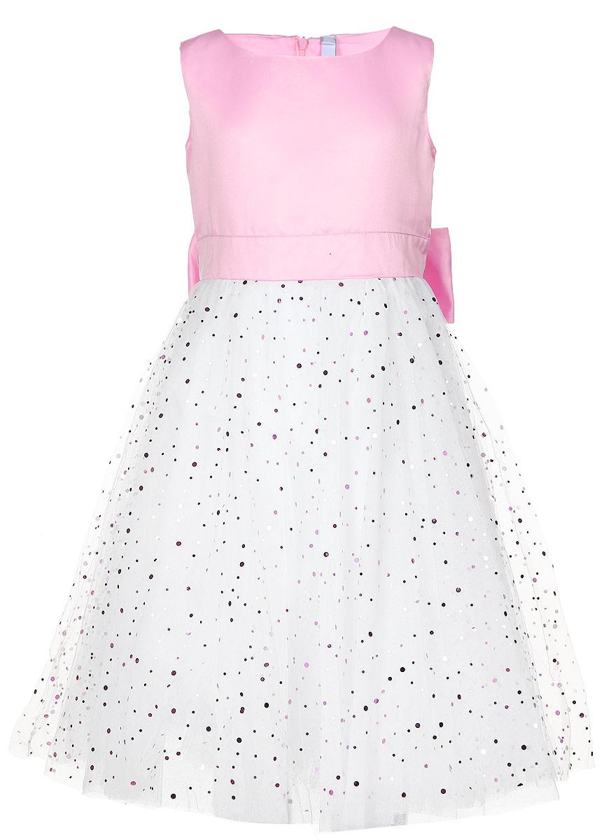Платье462034Нежное платье для девочки PlayToday изготовлено из качественного полиэстера, на подкладке из натурального хлопка. Пышная модель без рукавов застегивается сзади по спинке на потайную застежку-молнию. Верх выполнен из сатина с легким матовым блеском. Хлопковая подкладка обеспечивает дополнительное удобство. Юбка украшена россыпью сверкающих пайеток разных размеров. Модель дополнена широким поясом, чтобы завязать бант.
