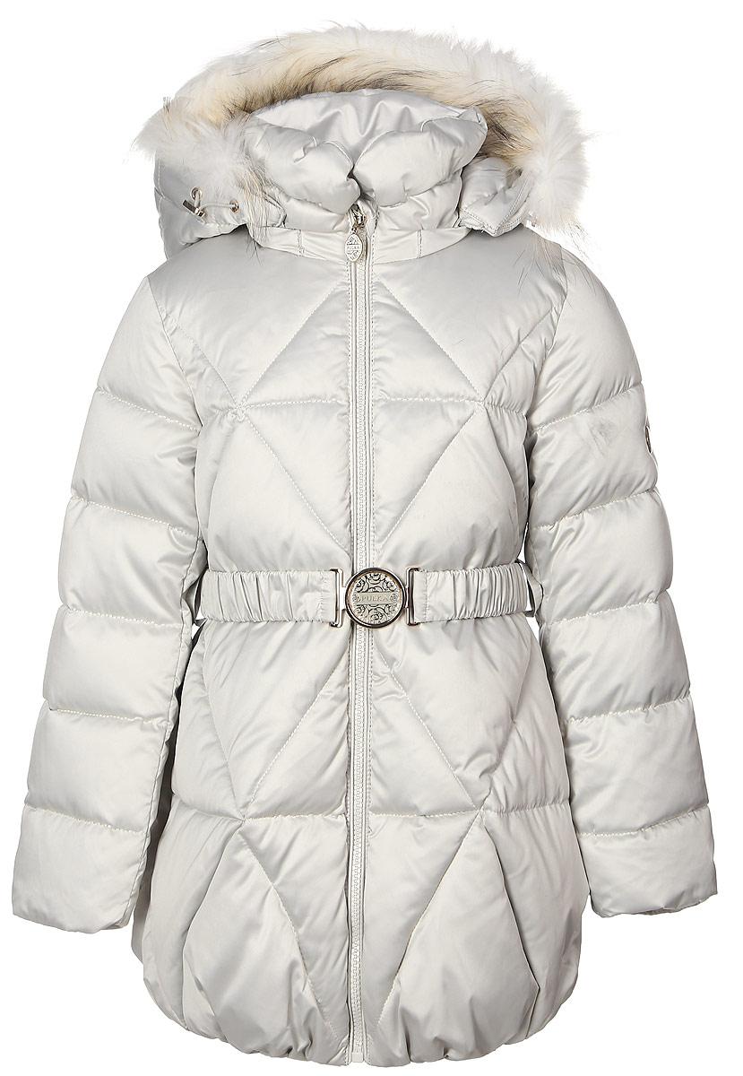 КурткаPUFWG-616-20122-203Стильная куртка для девочки Pulka изготовлена из качественного полиэстера. В качестве наполнителя применяются сочетание пуха, пера и полиэстера. Спереди модель застегивается на молнию с внутренней ветрозащитной планкой. С внутренней стороны изготовлена уютная трикотажная подкладка, а рукава выполнены на подкладке из полиэстера. Капюшон пристегивается к курточке с помощью застежки-молнии и декорирован натуральным мехом енота. Рукава и низ изделия дополнены эластичными резиночками. Спереди модель оформлена двумя втачными карманами на молнии. На талии имеется стильный поясок на эластичной резинке с металлической бляшкой.