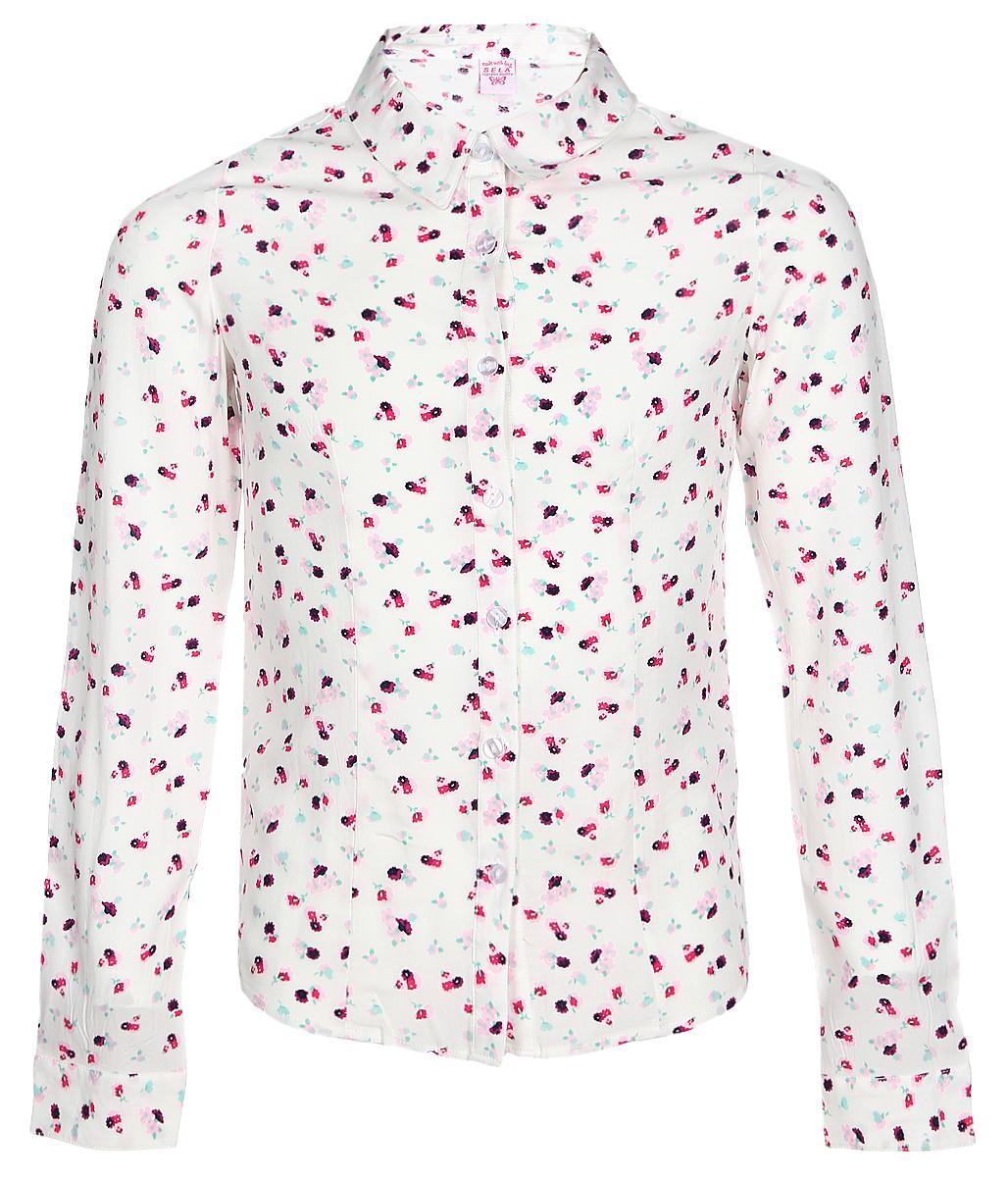 РубашкаB-612/844-7131Рубашка для девочки Sela выполнена из натуральной вискозы. Рубашка с длинными рукавами и отложным воротником застегивается на пуговицы спереди. Манжеты рукавов также застегиваются на пуговицы. Рубашка оформлена ярким цветочным принтом.