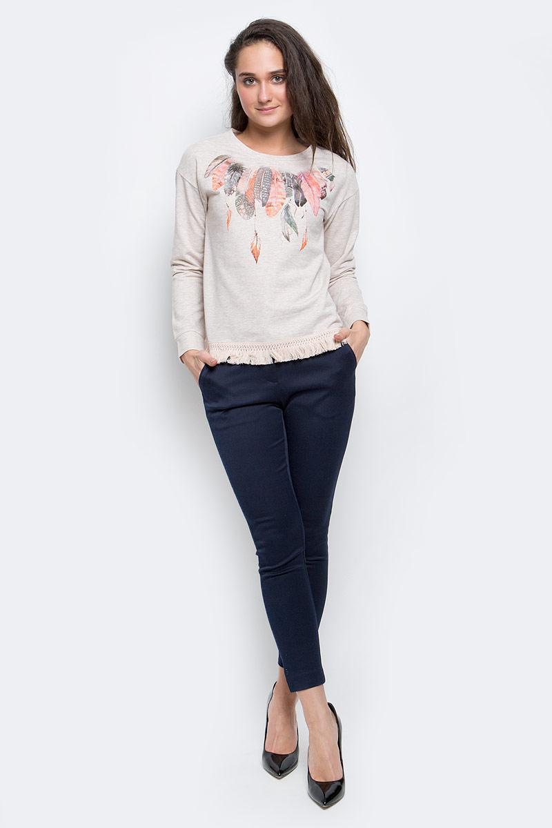 СвитшотSt-313/1096-7111Стильный женский свитшот выполнена из хлопка и полиэстера. Модель с круглым вырезом горловины и длинными рукавами снизу оформлена бахромой.