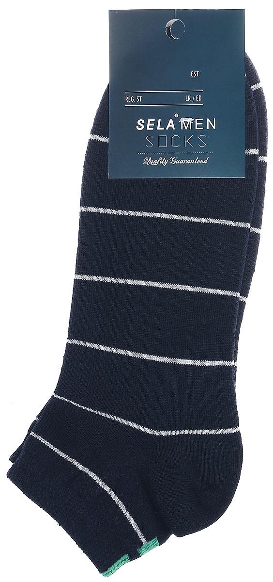 SOb-254/023-7102Мужские носки Sela изготовлены из высококачественного эластичного хлопка с добавлением полиэстера. Укороченные носки имеют эластичную резинку, которая надежно фиксирует носки на ноге. Носки оформлены изображением узором в контрастную полоску. Уважаемые клиенты! Размер, доступный для заказа, является длиной стопы в сантиметрах.