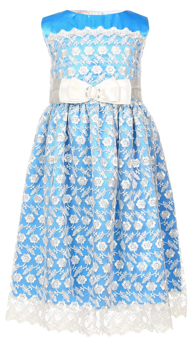 MD162219Платье для девочки M&D выполнено из полиэстера. Модель средней длины без рукавов с круглым вырезом горловины имеет пришивную юбку и застегивается на застежку-молнию на спинке. Платье оформлено кружевом с цветочным узором, имеет непрозрачную подкладку из атласной ткани. На поясе расположена декоративная лента с металлической пряжкой и завязками, фиксирующимися на спинке.