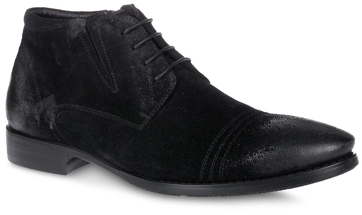 01-W-20404-01ZСтильные мужские ботинки от Jillionaire выполнены из натурального спилока. Подкладка и стелька из натурального меха не дадут ногам замерзнуть. Шнуровка надежно зафиксирует модель на ноге. Боковая застежка-молния позволяет легко снимать и надевать модель. Одна из боковых сторон дополнена эластичной вставкой для идеальной посадки модели на ноге. Подошва и каблук дополнены рифлением.