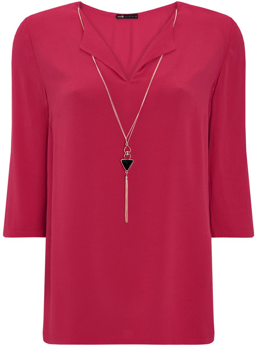 Блузка21404021/43281/2900NСтильная женская блузка oodji Collection выполнена из высококачественной вискозы. Модель свободного кроя с V-образным вырезом горловины и рукавами 3/4 украшена спереди съемным украшением из металла и пластика.