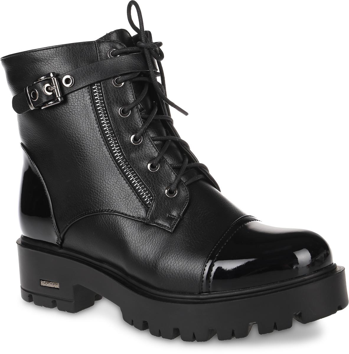16115Z-2-1MЖенские ботинки от Daze, выполненные из искусственной кожи, оформлены на мысе и на заднике вставками из искусственной лакированной кожи. Подкладка и стелька из искусственного меха не дадут ногам замерзнуть. Шнуровка и ремешок с металлической пряжкой надежно зафиксируют модель на ноге. Боковая застежка-молния позволяет легко снимать и надевать модель. Массивная подошва и каблук дополнены рифлением.