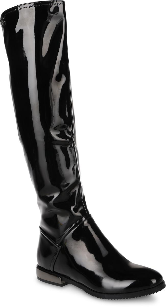 16452Z-4-2FЖенские сапоги от Daze выполнены из искусственной лакированной кожи. Подкладка и стелька из фельпы обеспечат комфорт. Застегивается модель на боковую застежку-молнию. Верхняя часть голенища дополнена эластичными вставками, которые гарантируют идеальную посадку модели на ноге. Каблук оформлен вставкой, стилизованной под металл. Подошва и каблук дополнены рифлением.