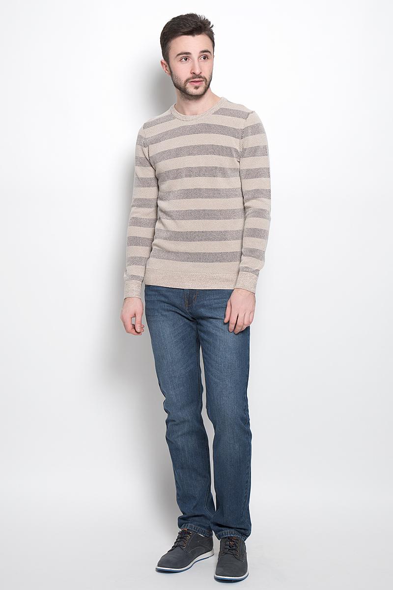 ДжемперJR-214/1013-7121Стильный мужской джемпер выполнен из натурального хлопка. Модель с круглым вырезом горловины и длинными рукавами. Горловина, манжеты и низ изделия связаны резинкой.